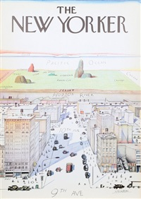 view of the world from 9th avenue - the new yorker by saul steinberg