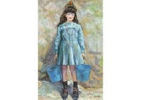 girl carrying water (spain) by eitaro tsuruta