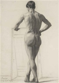 standing male nude (+ reclining male nude; 2 works) by victor favier