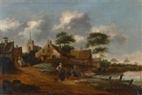 holländisches dorf am kanal by klaes molenaer