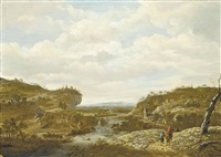 a mountainous river landscape with travellers on a track, a city beyond by guillam dubois
