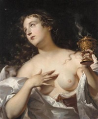 a female figure holding an incense burner by willem doudyns