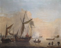 warships and fishing boats moored off the coast with a ship firing a salute for an approaching launch by peter monamy