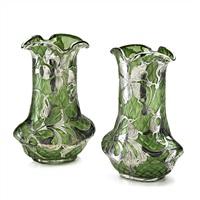pair overlaid vases by la pierre co.