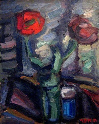 a vase of flowers by chaim atar