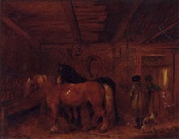 figures and horses in a barn by emily r. smyth