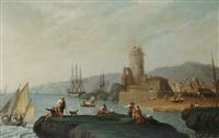 scorcio di città portuale con personaggi e roccaforte by angel maria cortellini y hernandez