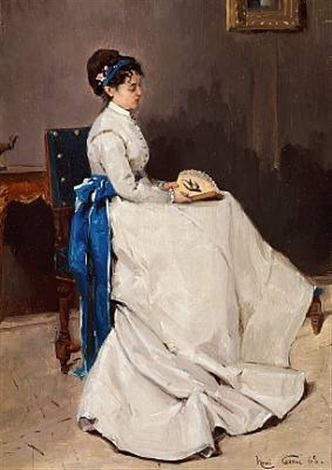 interior with a lady in a greyish dress decorated with a blue ribbon she is holding a fan by henri rené gaume