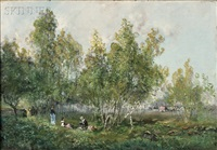 picnickers in a grove of trees by godefroy de hagemann