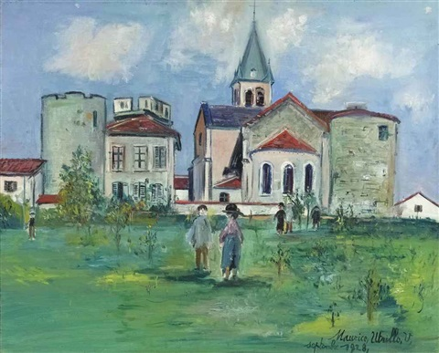 eglise dambérieux en dombes ain by maurice utrillo