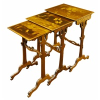 butterfly and flower marquetry nesting tables by émile gallé