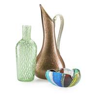 aventurina pitcher; oriente ashtray; filigrana bottle (3 works) by dino martens