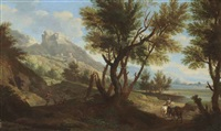 an italianate landscape with figures conversing and travellers on horseback, a hilltop settlement beyond by andrea locatelli