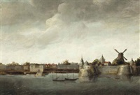 a view of a dutch fortified town, possibly a colonial fort in the dutch east indies by abraham de verwer