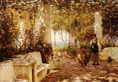 a peasant girl on a sunlit veranda by horace fisher