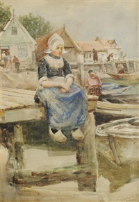 volendam - a dutch figure resting on a pier by robert jobling