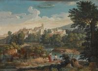 italienische landschaft mit badenden by friedrich wilhelm gmelin