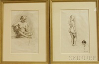 framed figure study drawings: seated nude and standing nude (2 works) by jack kramer