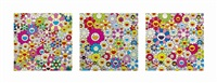 three prints by the artist by takashi murakami