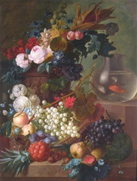 still life of grapes, quince, fig, melon, medlar, pineapple, peaches, plums, raspberries, sweetcorn, poppies, roses, hollyhocks, morning glory by jan van os