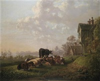cattle in a meadow near a riverside village by charles towne