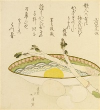 surimono - still life with an egg in a porcelain bowl with two stalks of asparagus lying over it, beside it broken egg shells (shikishiban) by hokkei