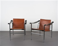 zwei armlehnsessel lc-1 (pair) by le corbusier, charlotte perriand and pierre jeanneret