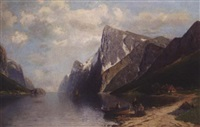 figures on the shore of a mountain lake by carl bertold