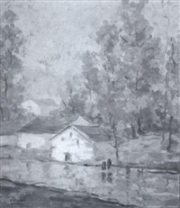 autumn landscape with buildings at streamside by herbert nelson hooven