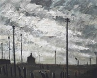 industrial landscape with telegraph poles by theodore major