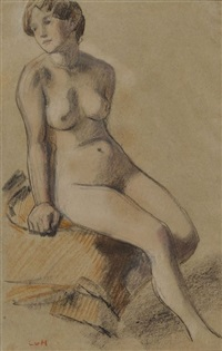 weiblicher akt, sitzend by ludwig von hofmann