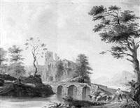 schäfer mit seine herde am flußufer nahe der steinernen bogenbrücke by hendrik manfried haus