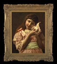 portrait of a girl in a pink dress, holding a seashell by john morgan