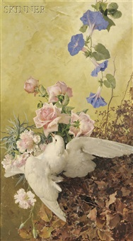 dove and flowers by manuel de la rosa