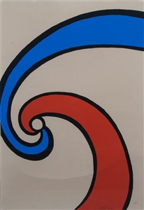red and blue swirl by alexander calder