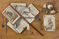 trompe l'oeil still life with letters and other objects on a board by antonio cioci