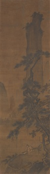 scholar playing qin under a pine tree by ma yuan