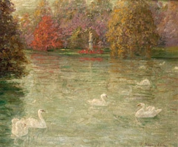 lago con cisnes by pere isern alié