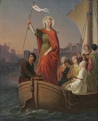 die heilige ursula mit ihren gefährtinnen bei der ankunft in rom by johann baptist müller