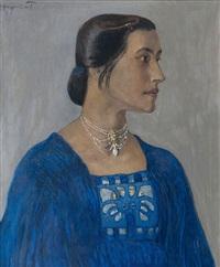 portrait einer dame in blau by fritz hegenbarth