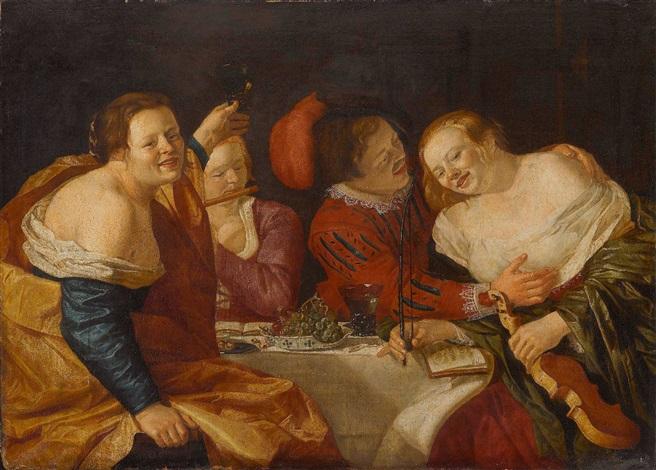 kavalier mit drei musizierenden kurtisanen by christian van couwenbergh