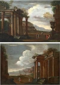 veduta di porto con rovine architettoniche (+ marina con rovine; 2 works) by niccolò codazzi