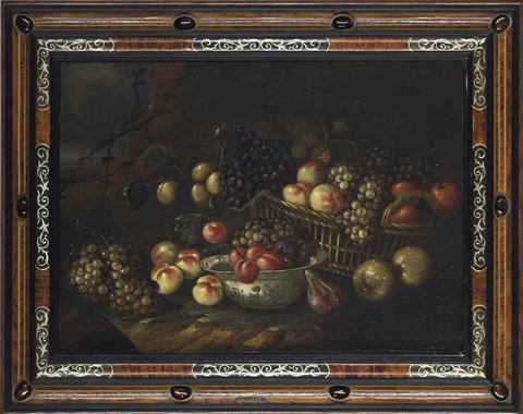 grapes apples and oranges in a wicker basket with pears figs and peaches in a porcelain bowl on a bank in a landscape by jan pauwel gillemans the elder