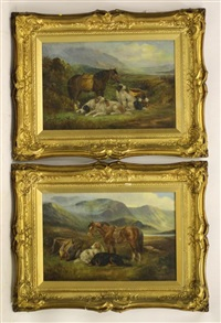 highland scene with pony, dogs and game (pair) by john morris