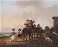 compagnie de chevaliers près de la source à la côte by joseph jacobs