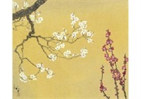 red and white plum blossoms by kazuko gokura