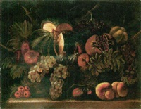 still life of a melon, a pomegranate, grapes, figs, pears and peaches in a wicker basket, upon a stone ledge by agostino verrocchi