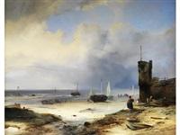 niederländischer strand mit fischerbooten und einer leuchtturmmauer by albrecht michael jacob jacobs