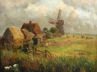 a marsh farmstead, tunstall, norfolk by william leslie rackham