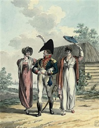 a soldier accompanying two elegant ladies on a walk by jan anthonie langendyk
